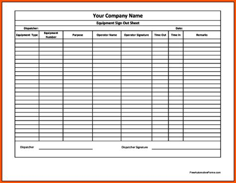 sign out sheet template tool sign out sheet template