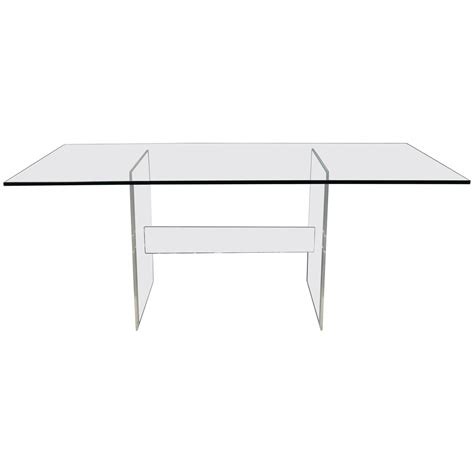 Glass Dining Table With Glass Base Lucite Base Glass Top Dining Table Or Desk For Sale At 1stdibs