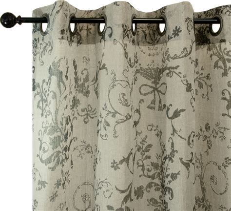 Toile Kitchen Curtains Emdee International Diem Loft Toile Grey Linen Drapery Panel Contemporary Curtains By Purehome
