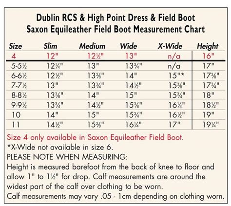 boot width chart sizing chart for boots us