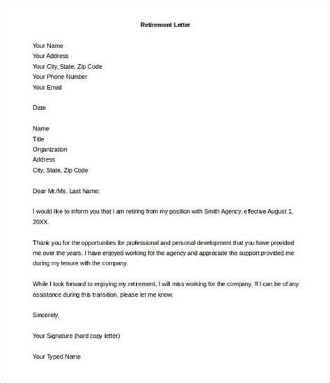 retirement letter templates word resignation