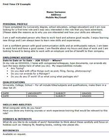first time job cv example icover org uk