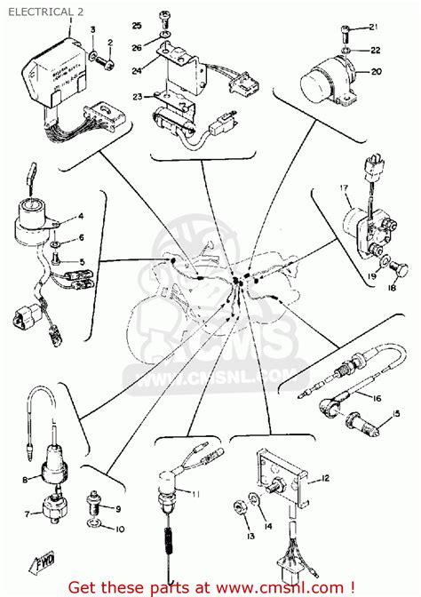yamaha tx750 1974 usa electrical 2 schematic partsfiche