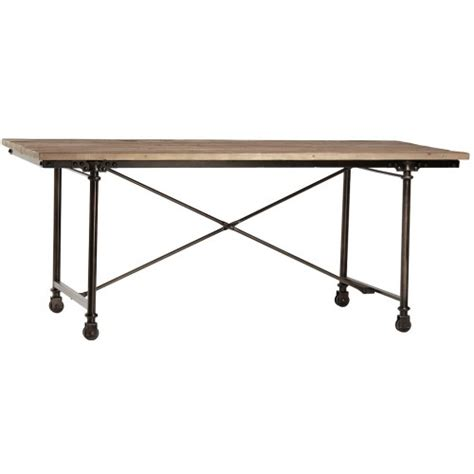 Dining Table With Casters Reclaimed Wood Steel Dining Table On Casters