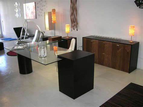 Modern Home Office Desk Furniture Glass Creates Modern Glass Desktops Glass