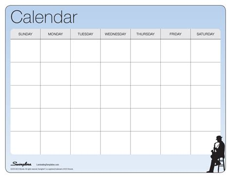 one month calendar laminating templates