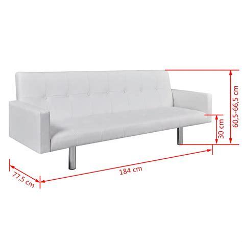 sofa cama de cuero sof 225 cama blanco de cuero artificial con reposabrazos