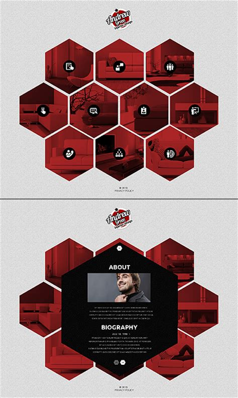 Template 45253 Interior And Furniture Javascript Based Website Template With Flipping Hexagons Hexagon Website Template