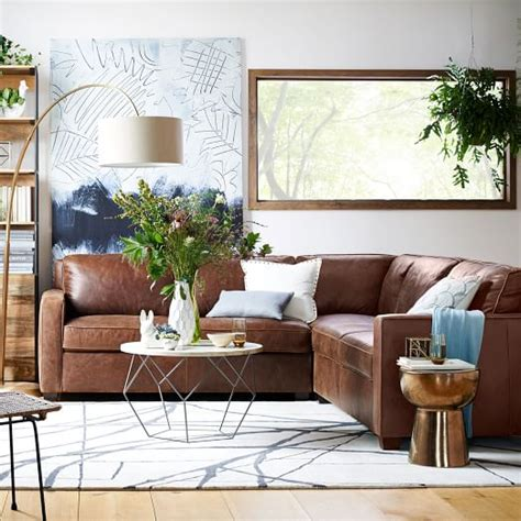 west elm henry leather sofa henry 3 sectional leather west elm living room