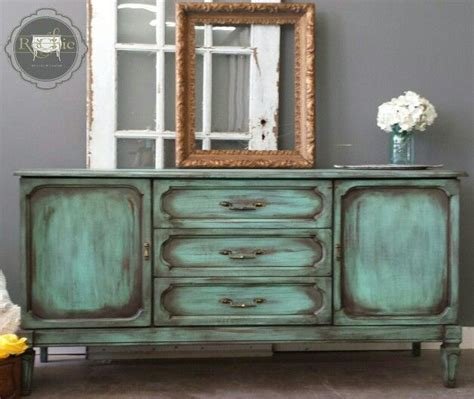diy green chalk paint vintage credenza sideboard painted in a patina green chalk