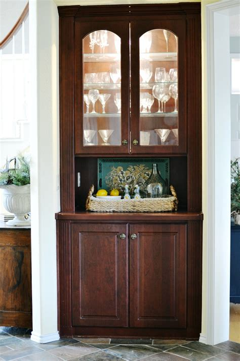 Built In China Cabinets by Built In China Cabinet Makeover At The Picket Fence