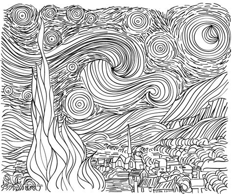 coloring pages van gogh starry starry night line drawing starry night van gogh could use as a