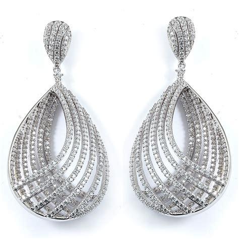 fancy teardrop cubic zirconia earrings made in sterling silver
