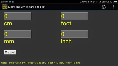 18 meters to feet m cm mm to yard feet inch converter tool android