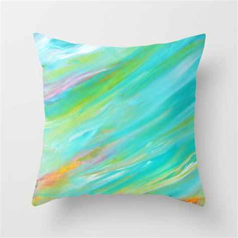 Bright Decorative Pillows Turquoise Pillow Cover Bright Pillows Blue Yellow Colorful