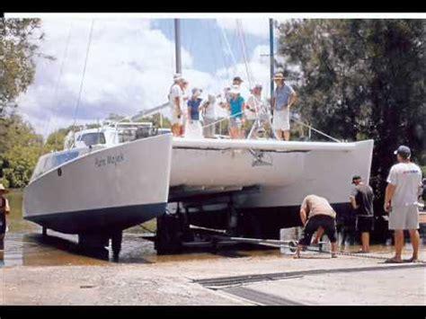 catamaran sailing part 5 building a sailing catamaran part 5 launching youtube