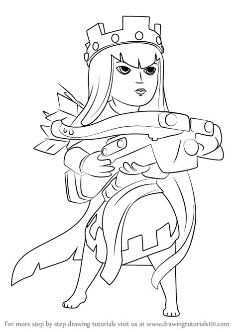 clash of clans archer queen coloring page preview learn how to draw queen archer from clash of the clans