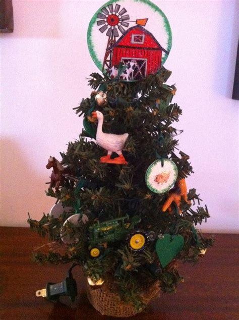christmas tree farm theme with john deere tractor and farm