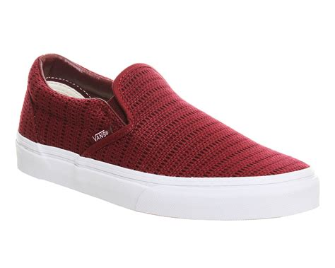 mens vans classic slip on shoes maroon crochet trainers