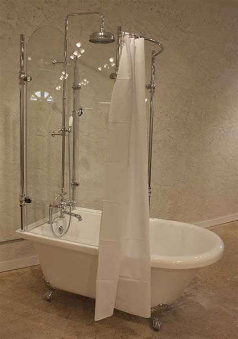 Acrylic Clawfoot Tub with Glass Shower Enclosure   Cla