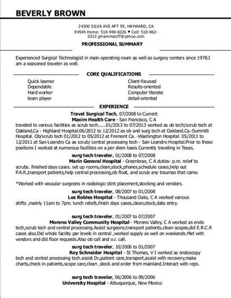 Surgical Resume 517 Best Resume Images On Perspective Resume Format And Resume Exles