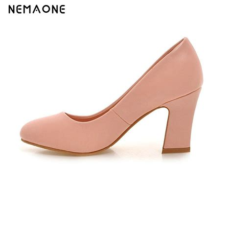 Wedding Shoes Thick Heel by Nemaone Shoes High Heels White