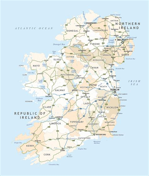printable road maps ireland political map of ireland royalty free editable vector