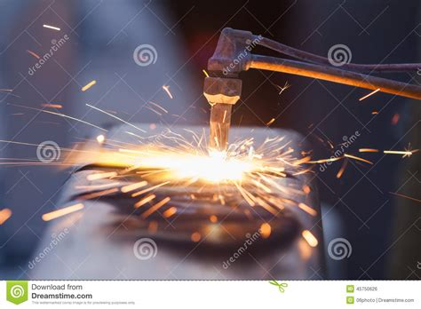 worker cutting steel pipe using metal stock photo 380191102 worker cutting steel pipe using metal torch and install roadside stock photo image 45750626
