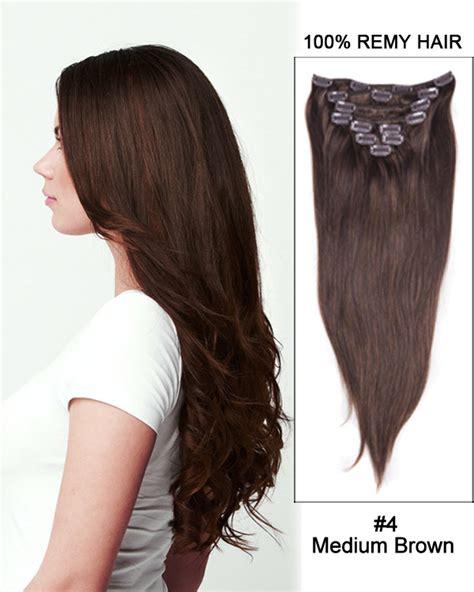 4 clip in hair extensions 18 9pcs 4 medium brown 100 remy human hair
