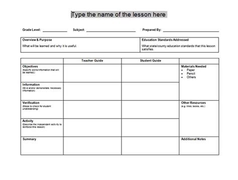 lesson plan templates microsoft word templates