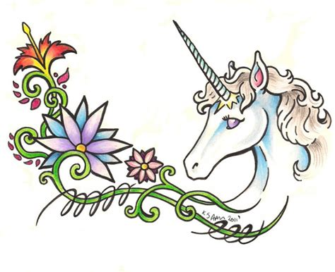 amazing olored unicorn head with flowers tattoo design