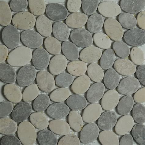 grey beige sliced pebble mosaic