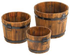Flower Rugs Apple Barrel Planters Set Of 3 Rustic Outdoor Pots