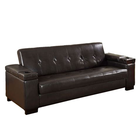 Futon Sofa Black Leatherette Futon Sofa Contemporary Elegance From Sears