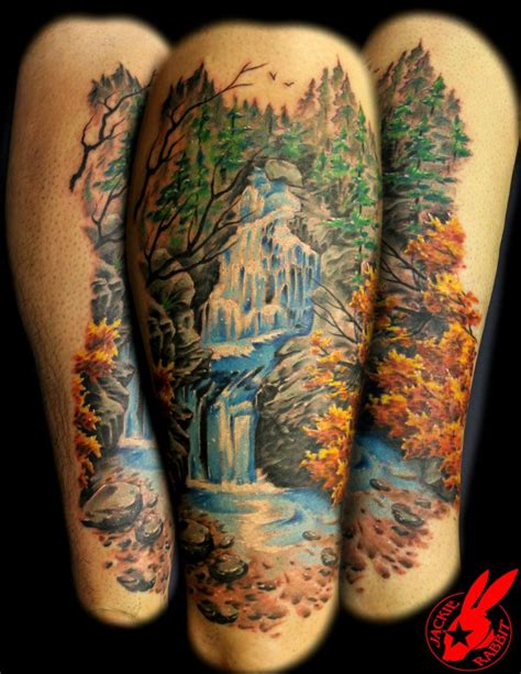 waterfall tattoos colored waterfall aquarius