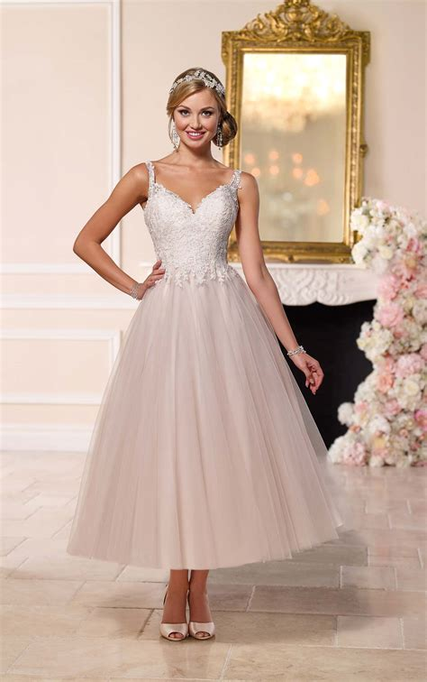 Length Wedding Dresses by Tea Length Wedding Dress With Tulle Skirt Stella York