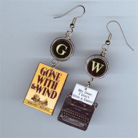 with the wind book earrings vintage typewriter
