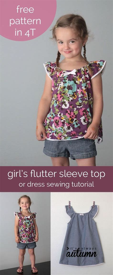 187 free blouse sewing patterns girl s flutter sleeve dress or top sewing tutorial free