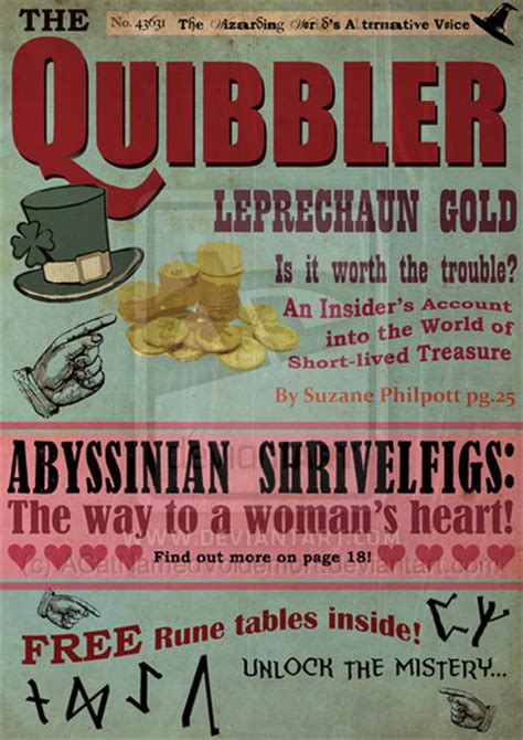 printable quibbler magazine quibbler back cover bing images