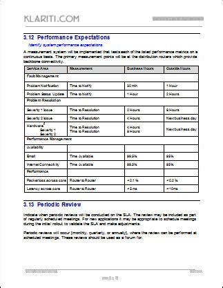 Service Level Agreement Template For It Support