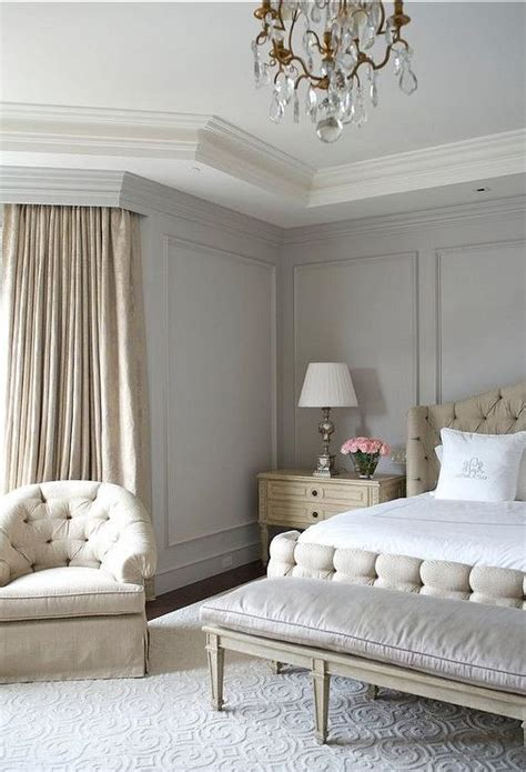 gray and beige bedroom beige and gray bedroom with gray wall moldings french bedroom benjamin moore wickham gray