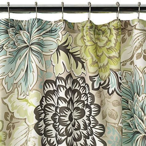Green And Brown Shower Curtains Reiko Floral Brown Green Blue Shower Curtain New Home Classics For The Home