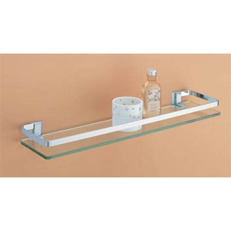 Bathroom Glass Shelves With Rail Glass Shelf With Nickel Rail Organize It All Wall Mounted Shelving Bathroom Racks