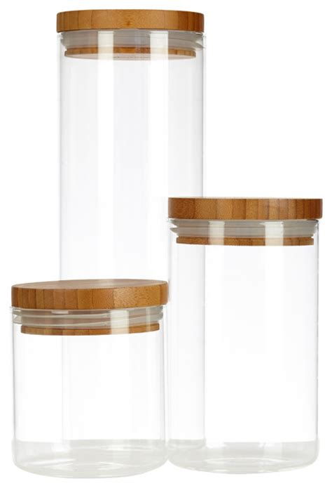 glass kitchen canisters airtight airtight glass canisters with wooden lids set of 3