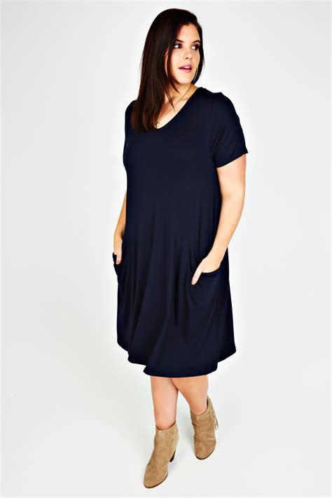 Dress Jesy Navy navy jersey dress with drop pockets plus size 16 to 36