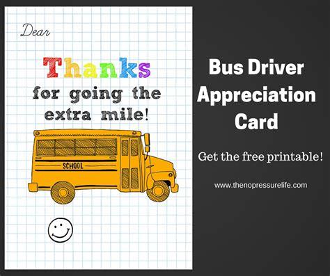 Bus Driver Appreciation Card Free Printable