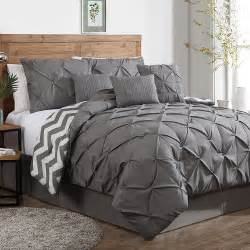 luxurious reversible 7 piece comforter set king size bedding pinch pleat gray ebay