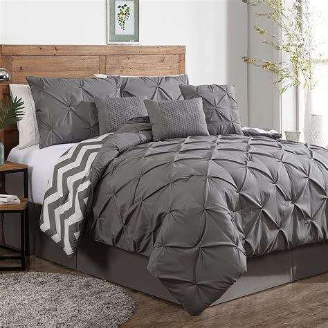 grey king bed luxurious reversible 7 piece comforter set king size bedding pinch pleat gray ebay