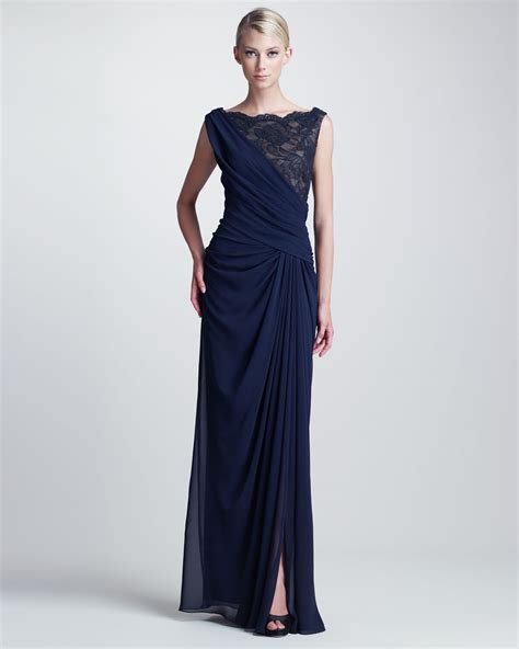 drape gowns tadashi shoji draped lace bust gown in blue lyst