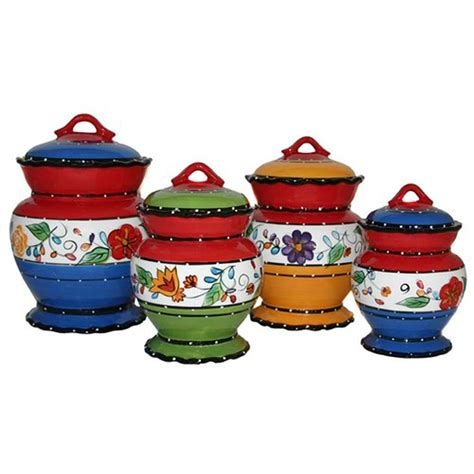 4 Piece Kitchen Canister Sets Viva Collection Deluxe Handcrafted 4 Piece Kitchen